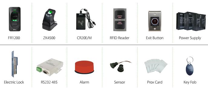 ZKTeco Inbio160/260/460 Optional Accessories