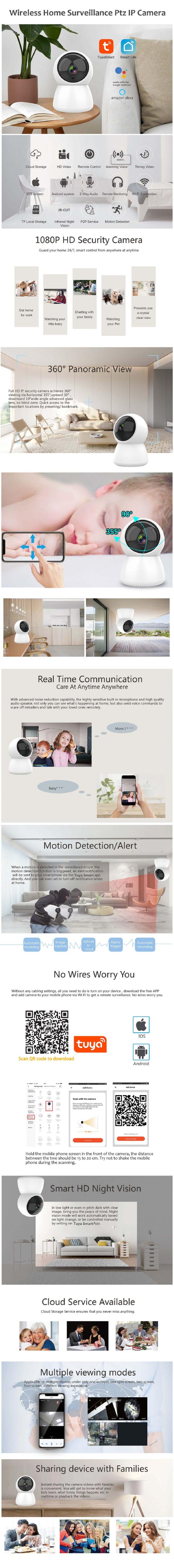 C240 Tuya WiFi IP Camera 1080P for Home Security