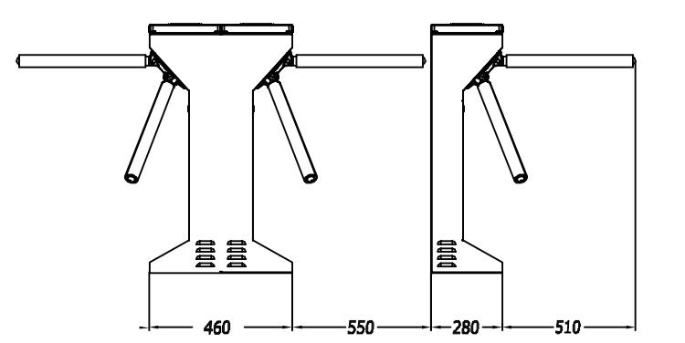 TS129-2 DoubleTripod Turnstile Measurement-P1