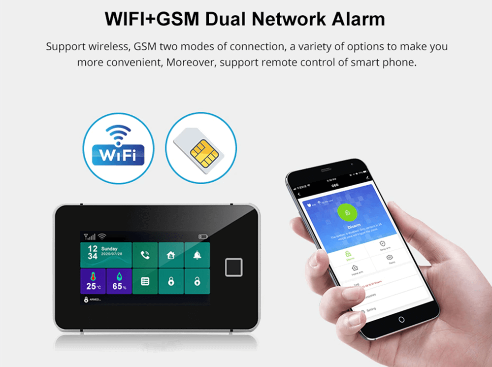 Touch Sreen WiFi Alarm System Kit-P12