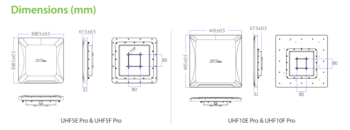 UHF5 Pro-UHF10 Pro-ZKTeco UHF Reader Measurement