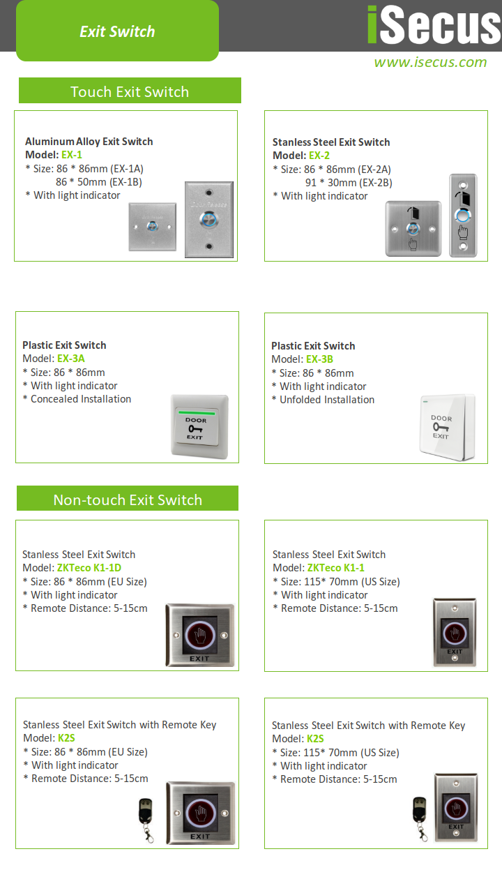 Exit-Switch-Exit-Button-Accessories Catalogue from iSecus-P2