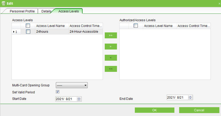 ZKAccess User Access Level